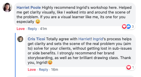 testimonial screenshot Harriet & Cristina